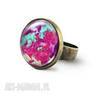 Pierścionek - amarantowe róże antyczny brąz liliarts pierścionek