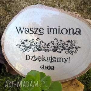 ślub magnes drewniany - podziękowanie dla gości z waszymi imionami i datą