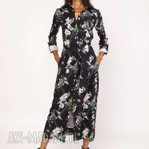 Sukienka maxi, SUK159 ptaki, sukienka, długa, modna, casual, ptaki