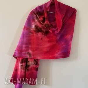 szal wełniany czerwień amarant, szalik ciepły podarek, unikatowy