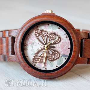 handmade zegarki damski drewniany zegarek seria full wood z motylem