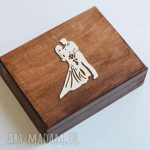 Pudełko na obrączki - Para Młoda, drewno, pudełko, obrączki, koronka, eko, rustykalne