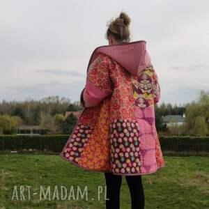 handmade płaszcze płaszcz patchworkowy długi z kapturem -w stylu boho, kimonowy