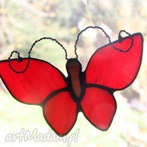 witraże czerwienny zbynio, witraż, motyl, zawieszka