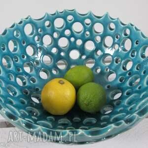 ażurowa turkusowa misa, dekoracyjna, miska, ceramiczna, artystyczna, na-owoce
