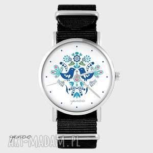 hand-made zegarki zegarek - folkowe ptaszki, niebieskie czarny, nato