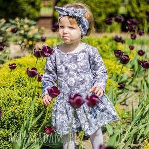 Dziewczęca sukienka - GREY ROSE rozm. 110-116 , sukienka, dzianinowa, róże, kwiaty