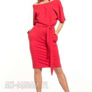 sukienki sukienka wiązana z dzianiny bawełnianej, t309, czerwona