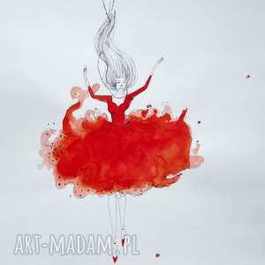 Akwarela i piórko DAJ SIĘ PONIEŚĆ artystki plastyka Adriany Laube, akwarela, rysunek