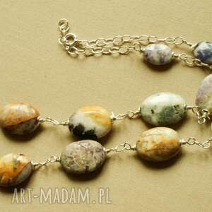 Naszyjnik z lepidolitu i srebra, tilia, owale, lepidolit, oryginalny