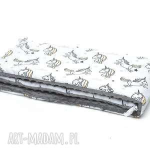 MILUTKA ochraniacz do łóżeczka MINKY dwustronny jednorożce / grafit,