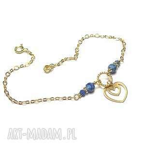 kaynitowe serduszko - bransoletka, srebro pozłacane, serce, kyanit, lapis lazuli