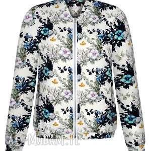 bluzy biała bomberka damska w delikatne kwiaty na zamek, bawełniana, dzianinowa