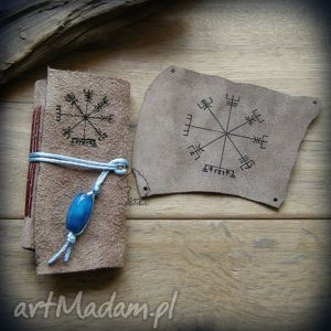 zestaw skórzany vegvisir mały notes i naszywka, wiking, wikingowie, vegvisir, runy