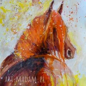W słońcu obraz akwarelami artystki plastyka Adriany Laube, koń, słońce, akwarela