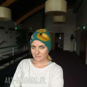 czapka wełniana filcowana turkus zimowa handmade w kwiaty na podszewce - wełna