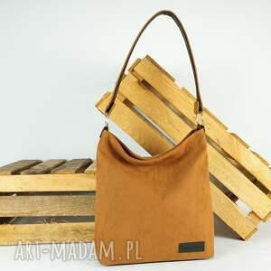 hand-made na ramię classic new zip kolor rudy camel, wodoodporny syntetyczny nubuk