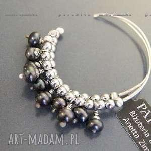 SREBRO, kolczyki naturalne czarne perły, srebro, koła,