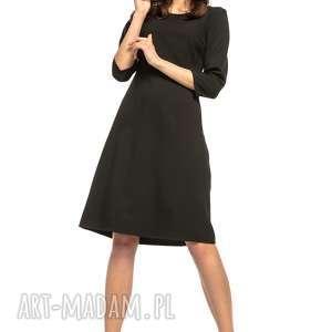 Taliowana sukienka z tkaniny rękawem 3/4, T265, czarny, wyjątkowo, elegancka