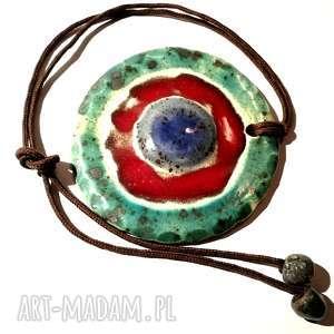 naszyjnik wisior ceramiczny szkliwiony handmade, naszyjnik, owal, szkło, ceramika