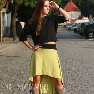seledynowa spódnica, asymetryczna, mini spódnica
