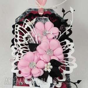 ręcznie robione scrapbooking kartki tag różowo-czarny