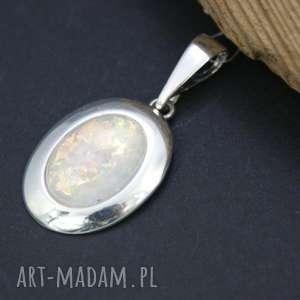 wisiorek srebrny z opalem - zawieszka, wisiorek, srebrna, opal, owal