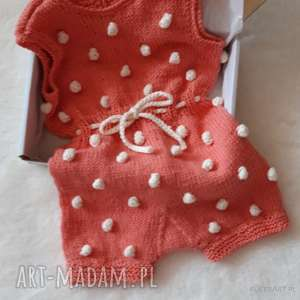hand-made bawełniany rampers w bąbelki