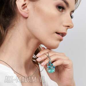 srebrny wisiorek z amazonitem a476, amazonit, amazonit biżuteria, dzień
