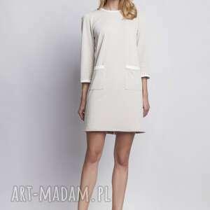 sukienka, suk103 beż, casual, kontrast, prosta, chrzciny sukienki