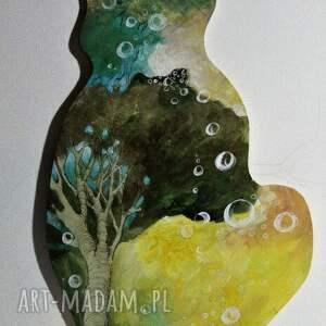 Obraz Produkcja baniek na drewnie w kształcie kota artystki plastyka Adriany Laube