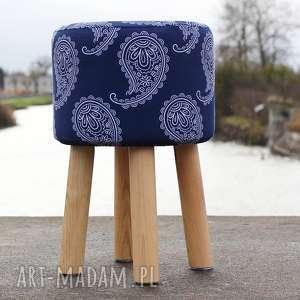 Pufa Niebieskie Paisley 2 - 45 cm , puf, pufa, stołek, taboret, siedzisko,