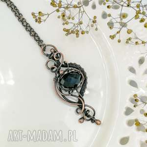 Prezent Black - wisior z czarnym kryształem, naszyjnik, wisior-z-kryształem