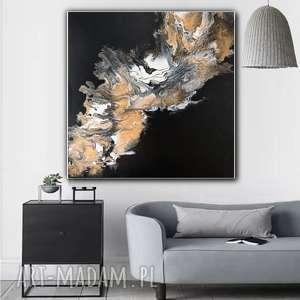 Czarno - Złoty Granit abstrakcja na płótnie, obraz ręcznie malowany do salonu