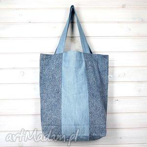 Prezent Gładka niebieska torba dżinsowa, torba, pojemna, prezent, zakupy