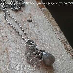 mglisty naszyjnik z labradorytu i srebra, labradoryt, srebro oksydowane, srebrny