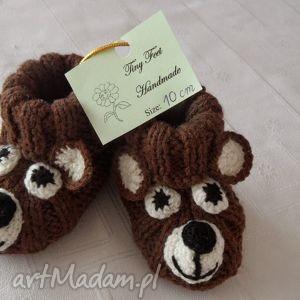ręczne wykonanie buciki buciki niemowlęce - niedźwiadki