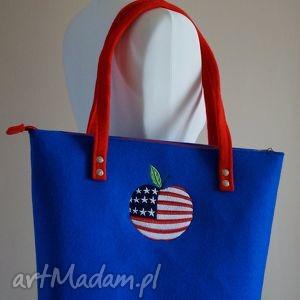 happyart filcowa torebka - amerykańskie jabłuszko, torebka, filcowa, amerykański