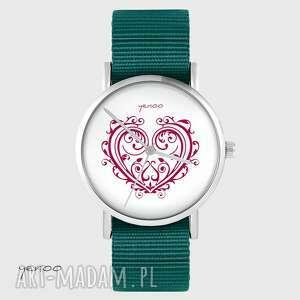 zegarki zegarek yenoo - serce ornamentowe morski, zegarek, pasek, militarny