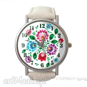 hand-made zegarki folkowe kwiaty - skórzany zegarek z dużą tarczą