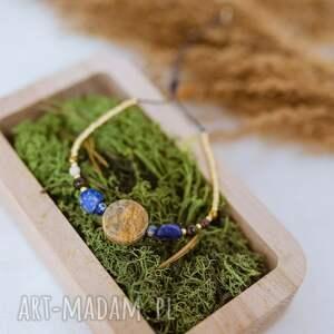 beżowa bransoletka kamienna na ochronę, sznurkowa, sznureczkowa