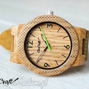 Drewniany zegarek OAK WINTER COLLECTION, zegarek, drewniany, drewno, dąb, skóra