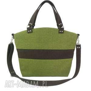 Shopper green & brown - ,torebka,shopper,wygodna,pojemna,