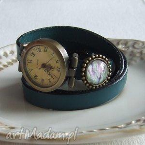 zegarek vintage z grafiką skórzany morska zieleń, biżuteria, bransoletka