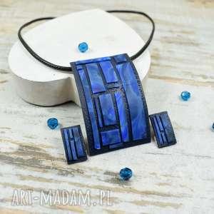 Prezent Geometria - nowoczesny komplet biżuterii w odcieniach granatu