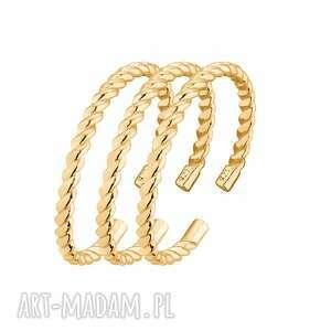 zestaw trzech złotych obrączek - pierścionke, pozłacany