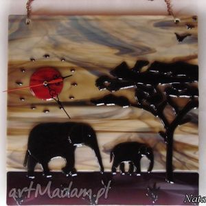 zegary artystyczna kompozycja ze szkła - zegar słonie, szklo, zegapy, dom