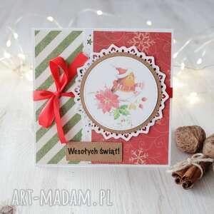 po-godzinach kartka świąteczna z ptaszkiem - boże narodzenie