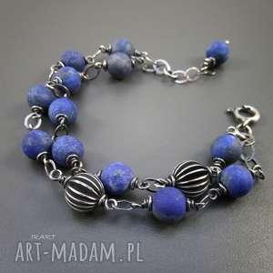 lapis lazuli z ozdobnymi kulami, lapis, lazuli, bransoletka