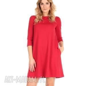 sukienka rozkloszowana czerwona,krótka, lalu, sukienka, dzianina